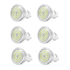 7W GU10 LED-spotlights 48 SMD 2835 600 LM Kallvit V 6 st