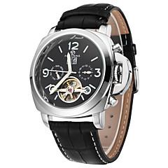 FORSINING Masculino Relógio de Pulso relógio mecânico Automático - da corda automáticamente Calendário Gravação Oca Couro Banda Luxuoso