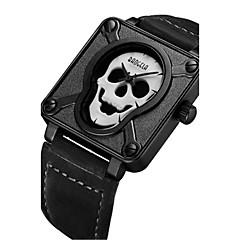 Męskie Modny Unikalne Kreatywne Watch Zegarek na nadgarstek Kwarcowy Skóra Pasmo Lebky Czarny Brązowy