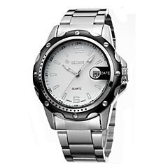 Мужской Модные часы Китайский Кварцевый Календарь Защита от влаги Фосфоресцирующий сплав Группа Серебристый металл