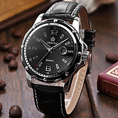 Men's Wrist watch Quartz Leather Band Black Black