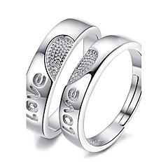 Páros gyűrűk Ékszerek Szerelem Platina bevonat Heart Shape Ékszerek Mert Esküvő Parti Különleges alkalom 1 pár