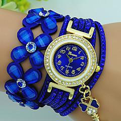 Mulheres Bracele Relógio Quartzo Strass Couro Banda Flor Boêmio Preta Azul Vermelho Marrom