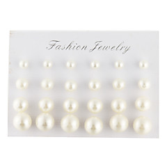 Stud Earrings Elegant Pearl Imitation Pearl Imitation Diamond Drop Ball White Black Jewelry For Daily Casual 24pcs