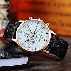 Hombre Reloj de Moda Japonés Cuarzo Calendario Cronógrafo Noctilucente Piel Banda Negro Marrón