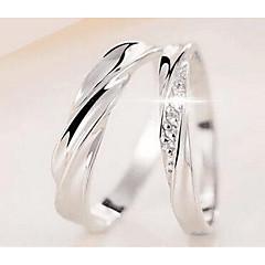 Női Férfi Páros gyűrűk Ékszerek Alap Kör Aranyozott ezüst Fém ötvözet Round Shape Ékszerek Kompatibilitás Születésnap Hétköznapi