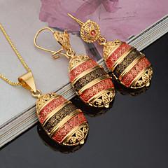Mulheres Sets nupcial Jóias Gema bijuterias Moda Euramerican Chapeado Dourado Formato Oval Para Festa Festa/Eventos Dia a Dia Presentes