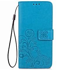 Na Etui Pokrowce Etui na karty Portfel Z podpórką Flip Wytłaczany wzór Futerał Kılıf Solid Color Kwiaty Twarde Sztuczna skóra na Xiaomi