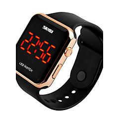 SKMEI Heren Dames Sporthorloge Digitaal horloge Digitaal LED Kalender Waterbestendig PU Band Zwart Wit Roze