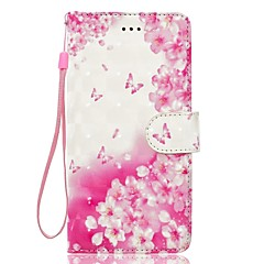 Taske til huawei p10 p10 lite telefon tilfælde 3d effekt sommerfugl blomster mønster pu materiale tegnebogen sektion telefon taske p9 lite
