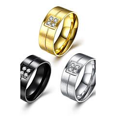 Dames Heren Ring Bergkristal Cirkelvormig ontwerp Roestvrij Staal Cirkelvorm Sieraden Voor Feest Kantoor/Formeel Dagelijks