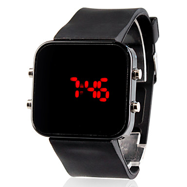 Unisex Red LED Jumbo Square Mirror Face Silicone Band Wrist Watch (Black) Cool Watch Unique Watch Fashion Watch