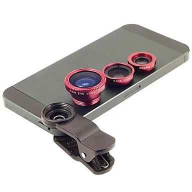 Universal Clip 3 in 1 Wide Angle lens /Macro lens/180 Fish Eye Lens/ Kit Set for iPhone/iPad/Samsung Phone