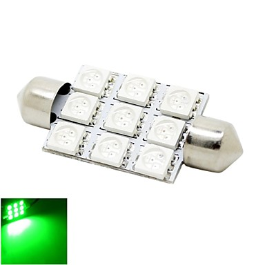 41mm 2w 9x5050 smd led 180lm groene lichten festoen koepel for Led autolampen