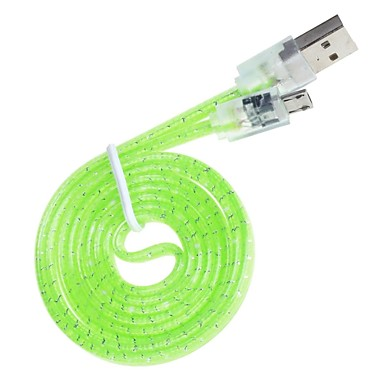 Hand Weaved Transparent Design USB Universal Data Flat Cable (Length:95cm)(Assorted Colors)