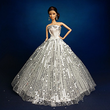 Wedding dresses for barbie doll silver dresses for girl 39 s for Wedding dresses for barbie dolls