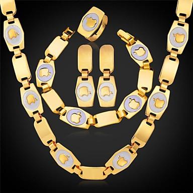Apple, колье ожерелье серьги браслет кольцо Установить U7 девочек с подарочной коробке 18K позолоченный комплект ювелирных изделий способа