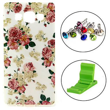 Rose Flower Pattern TPU Soft Case with Anti-dust Plug and Stand for Samsung Galaxy A5/A5000