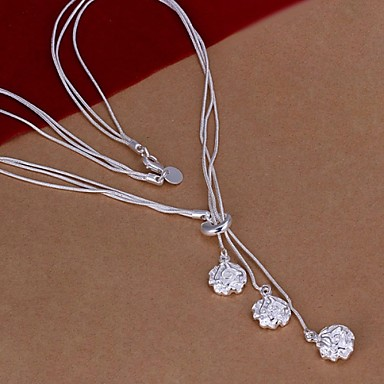 femme pendentif de collier forme de fleur rose argent sterling bijoux pour mariage soir e. Black Bedroom Furniture Sets. Home Design Ideas