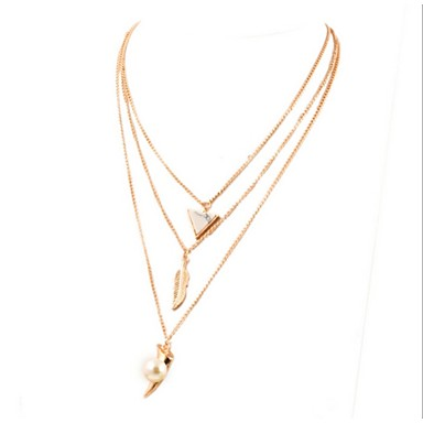 Women Necklace European Style Triangle Feather Pearl Layered Chain