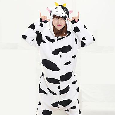 Kigurumi Pajamas Milk Cow Leotard/Onesie Festival/Holiday Animal Sleepwear Halloween Black/White Patchwork Coral fleece Kigurumi For