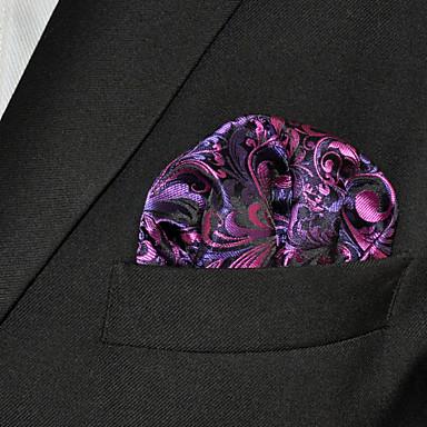 Men Purple  Paisley 100% Silk  Pocket Square Business Fashion