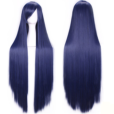 100 Cm Harajuku Anime Cosplay Wigs Young Long Straight Synthetic Hair Wig Bangs Blonde Costume Party