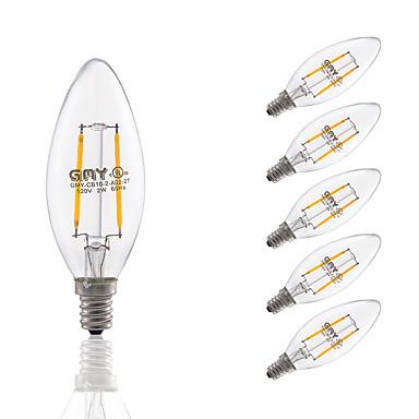 E12 Lâmpadas de Filamento de LED B 2 COB 200 lm Branco Quente Regulável Decor...