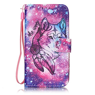 Lone Wolf Painted PU Leather Material Card Holder Phone Case iPhone 7 7plus 6S 6plus SE 5S