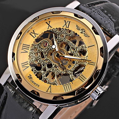 winner men 39 s watch mechanical hollow engraving cool watch unique watch skeleton watch fashion