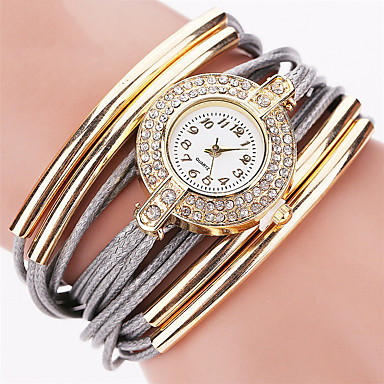 Women's Fashion Watch Wrist watch Bracelet Quartz Punk Colorful PU BandVintage Sparkle Candy color Bohemian Charm Bangle Cool
