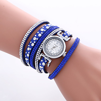 Women's Fashion Watch Bracelet Wrist watch Quartz Colorful PU Band Vintage Heart shape Bohemian Bangle Cool CasualBlack White Blue