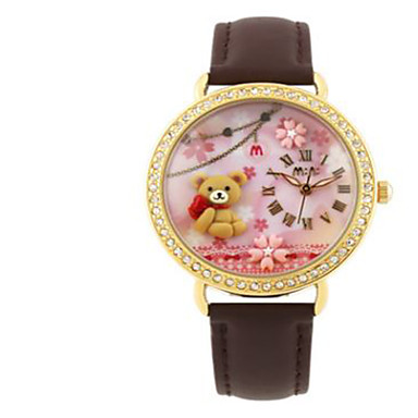 Men's Women's Fashion Watch Quartz / Leather Band Casual Brown Pink