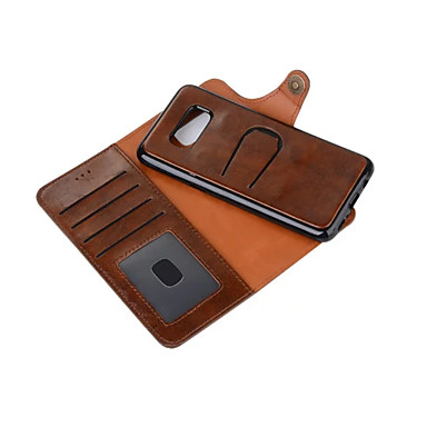For Samsung S8 Plus S8 Card Holder Wallet With Stand Flip Case Full Body Case Solid Color Hard Genuine Leather