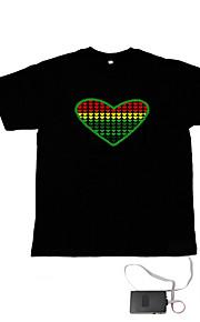 lyd og musik aktiveres el visualizer VU-spektrum danser t-shirt (4 * aaa)