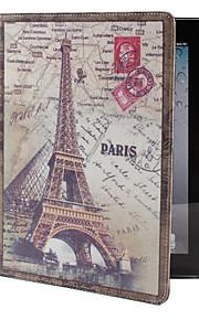 retro Eiffeltårnet mønster pu lærveske med stativ for ipad 2/3/4