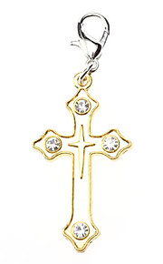 Dog tags Rhinestone Decorated Golden Cross Style Collar Charm for Dogs Cats