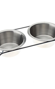 Double Metal Bowl with Shelf for Dogs Cats