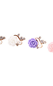 Gold Plated Alloy Zircon Pearl Flower Pattern Anti-dust Plug(Random Colors)