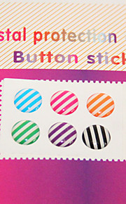 Joyland Colored Strip-Type Pattern Button-Sticker for iPhone/iPad/iTouch (6 Pack)