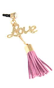 Liefde Alloy Chain Wollen Tassel Anti-Dust Plug (willekeurige kleur)