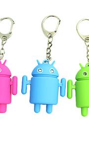 Cute Android Robot Style nøglering w/2-Blue LEDs / Sound Effect (3xAG10, tilfældig farve)