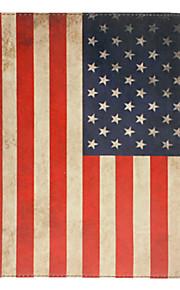 아이 패드 에어를위한 대를 가진 레트로 스타일 미국 국기 패턴 PU 가득 차있는 몸 케이스
