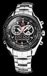 Masculino Relógio Esportivo Quartzo Japonês Calendário / Cronógrafo / Impermeável / alarme Aço Inoxidável Banda Prata marca-