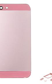 Rosa Liga de Metal Voltar Bateria Caixa com Button e vidro rosa para iPhone 5