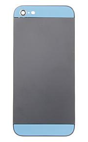 Negro aleación del metal de la cubierta trasera de la batería con cristal azul para el iPhone 5