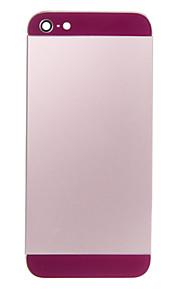 Rosa Liga de Metal Voltar Bateria Caixa com vidro escuro roxo para iPhone 5