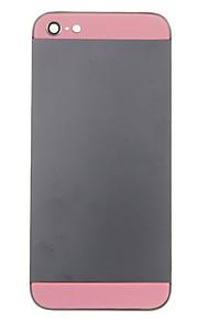 Black Metal Alloy Voltar Bateria Caixa com vidro rosa para iPhone 5