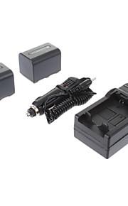 ismartdigi-Sony NP-FH70 (2 stuks) 2200mAh, 7.2V camera batterij + Car Charger voor SONY DC-R-SR62 SR300 DC-R-SX60E DVD608E