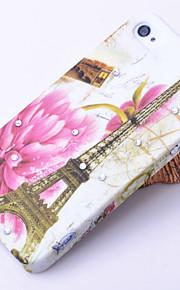 4/4S를위한 꽃과 에펠 탑 패턴 지르콘 뒤 케이스